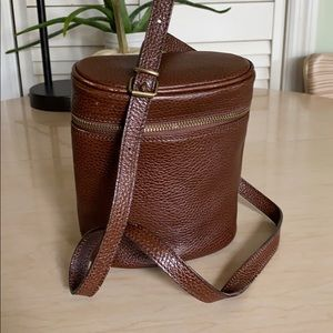 Ann Taylor brown leather mini Crossbody bucket bag